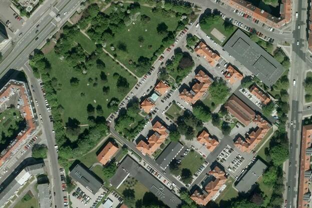 Området omkring MarselisborgCentret i Aarhus skal omdannes til en ny park i et projekt til 35 millioner kroner. Pressefoto.