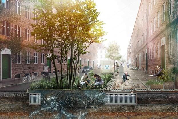 ACO Nordic, der er specialister i afvandingssystemer, er partner i et klimatilpasningsprojekt med Klimaflisen på Nørrebro i København. Rendering: Tredje Natur.