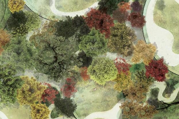 Beplantningen i den 20.000-35.000 kvm store park skal drage inspiration fra det danske skov- og naturlandskab. Desuden skal et udvalg af eksotiske og unikke planter være med til at skabe et eventyrligt univers. Illustration: H.C. Andersen Adventure Tower.