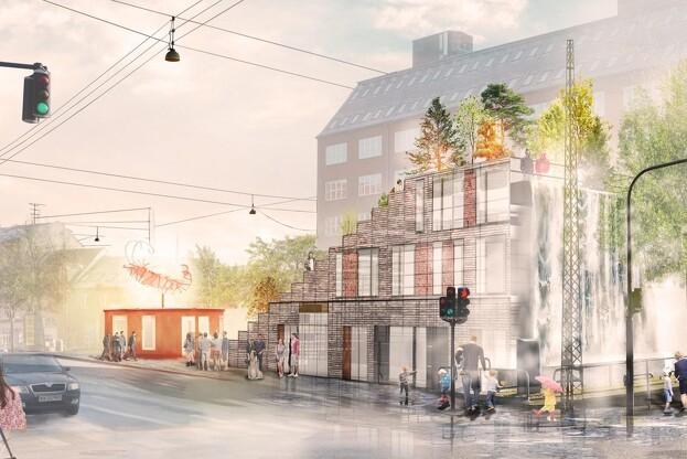 Det er SLA, der står bag vandfaldsprojektet i Aarhus. Visualisering: SLA.
