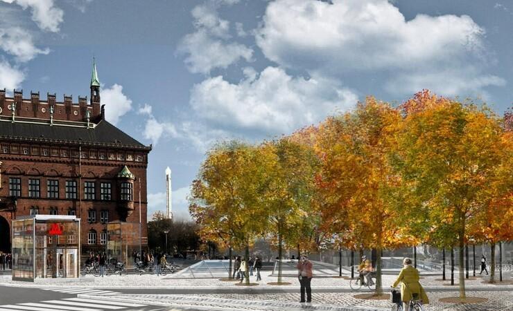 Metroselskabet planter lund på Rådhuspladsen