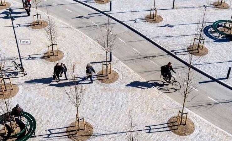 Byskov og cykelsti åbnet på Rådhuspladsen