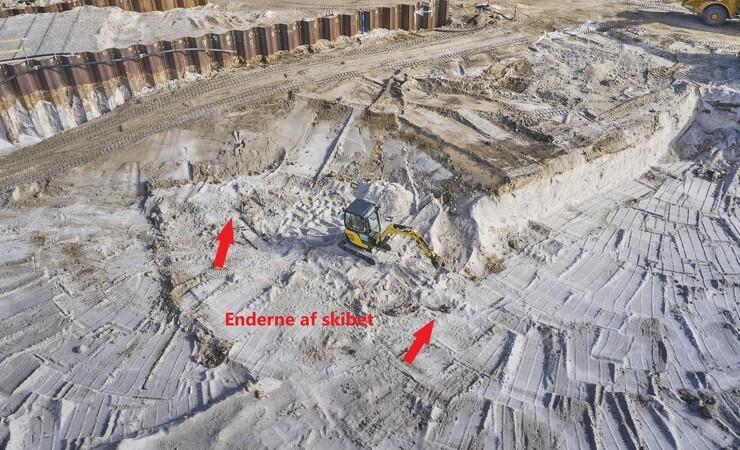 Skibsvrag dukker op under udgravning