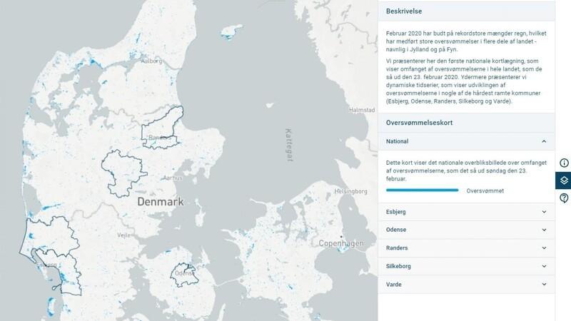 Satellitter kortlægger oversvømmelserne i Danmark